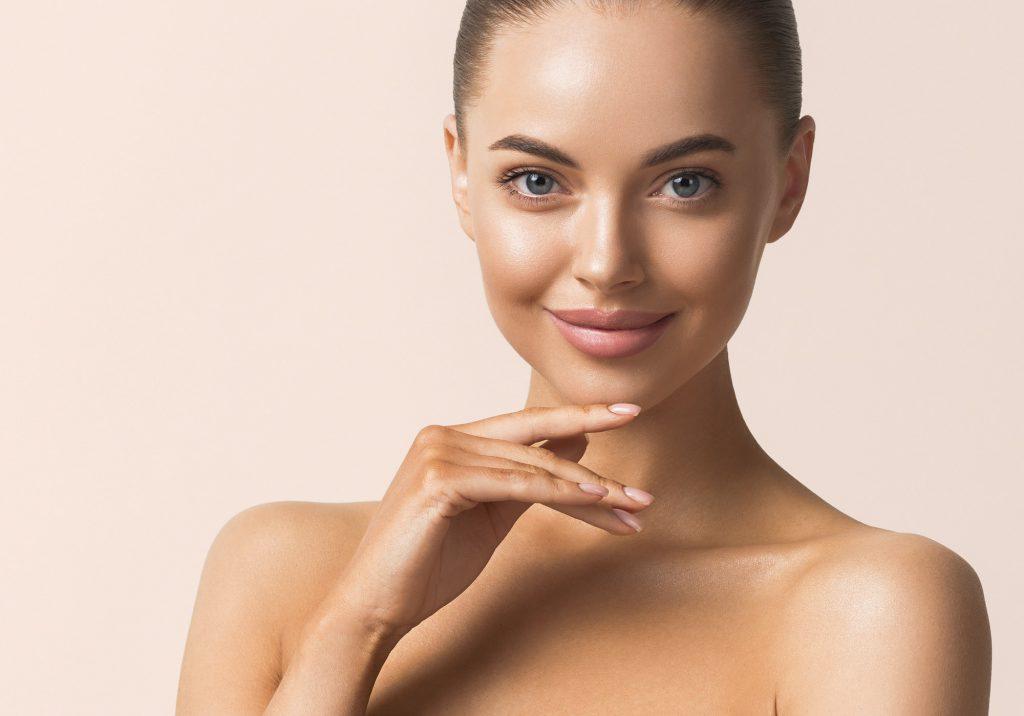 Beauty face woman macro tanned healthy skin