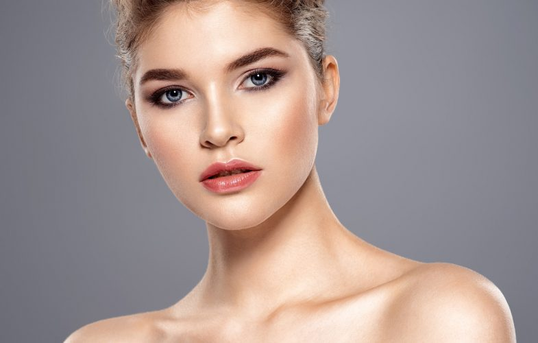 Beautiful face of young caucasian woman