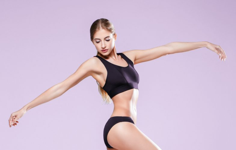 Woman sporty body beautiful skin healthy model